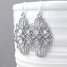 Silver Filigree Earrings Long Silver Earrings от JenniferCasady                                                                                                                                                                                 More