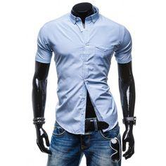 Moderná kockovaná košeľa s krátkym rukávom svetlo modrej farby - fashionday.eu