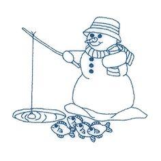 Snowman Ice Fishing - 5x7   Winter   Machine Embroidery Designs   SWAKembroidery.com Starbird Stock Designs
