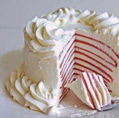 #KatieSheaDesign ♡❤ ❥ Christmas Red Velvet Crepe Cake.   love that it looks like a candy cane inside