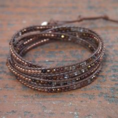 Tiny Brown mix wrap bracelet Boho bracelet Bohemian by Bracelets Wrap En Cuir, Bracelet Wrap, Bead Loom Bracelets, Beaded Wrap Bracelets, Bohemian Bracelets, Stretch Bracelets, Boho Jewelry, Vintage Jewelry, Jewellery Box