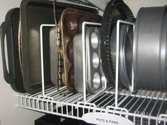 Kitchen Organization  Pantry Organization: Vertical pan divider for baking pans
