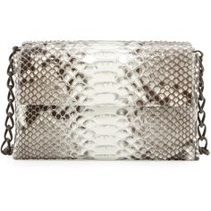 Nancy Gonzalez Python/Crocodile Small Double-Chain Shoulder Bag ($2,565) ❤ liked on Polyvore featuring bags, handbags, shoulder bags, genuine leather shoulder bag, white handbags, leather flap handbag, white purse and white leather handbags