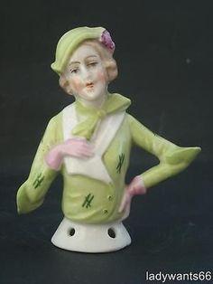 porcelain pin cushion half dolls | ART DECO GERMAN PORCELAIN FLAPPER LADY PIN CUSHION HALF DOLL