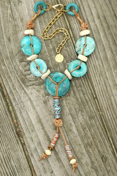 Designer Turquoise Donut and Leather Tassel Necklace | XO Gallery