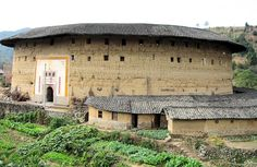 Haus aus Stampflehm (Fujian Tulou = 福建土楼) der Hakka (客家), Yongding (永定县), Fujian (永定县), China