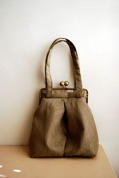 OVER SHOULDER BAG metal frame kiss lock grey with black dots. large. $85.00, via Etsy.