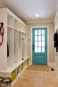 Love the inside door color- our basement mud room?