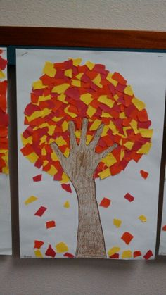 fall tree craft ideas torn paper tree students tear the paper into small 4427