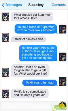 Text Memes, Dc Memes, Marvel Cinematic Universe, Dc Universe, Superhero Texts, Comic Text, Sons Day, Superman And Spiderman, Text Conversations