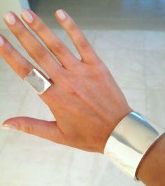 Tom Binns silver cuff and ring...