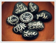 Messages on rocks instead of a guest book... I used to paint on rocks when I was a kid. Would be a fun throwback/thing to have around the house as decor.