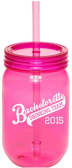 Bachelorette Party Ideas - Use these bachelorette drinking team sipping jars as both a bachelorette favor and a party cup by filling them with small candies, temporary tattoos, light up rings and more!