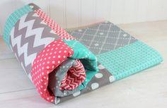 Baby Girl Blanket - Fleece Blanket - Coral Pink, Teal and Gray