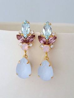 Blue pink earrings,Bridal earrings,Blue opal chandelier earrings,Wedding earrings,Bridal earrings,Vintage earrings,Swarovski ,Bridal jewelry by EldorTinaJewelry | http://etsy.me/2jZ5L0B