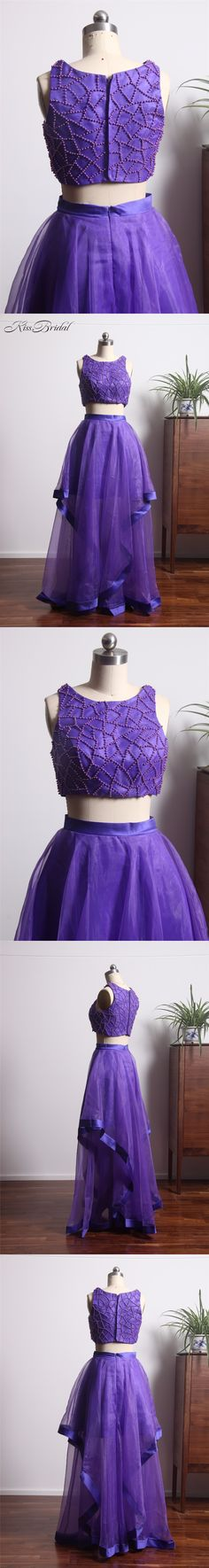 2018 Newest Design 2 Pieces Prom Dresses High Neck A-line Tulle Purple Evening Formal Gowns vestidos de gala