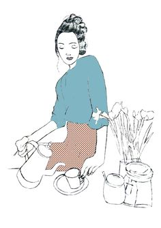 'Tea Girl' Illustration by Ellie Armstrong  http://redlipsandfabricthoughts.blogspot.co.uk/