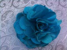 Receive 20% OFF... see store front for details...Turquoise satin and tulle fabric flower puff hair clip...