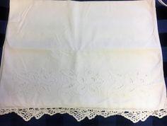 "White Pillowcase Floral Embroidery Cut Work White Crocheted Edge 30x19"""