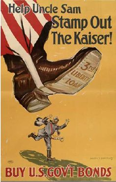 WWI propaganda poster - Help Uncle Sam Stamp Out the Kaiser Ww1 Propaganda Posters, Remember The Fallen, World War One, Wwi, Vintage Posters, Cover, Stamp, Political Art, Political Cartoons