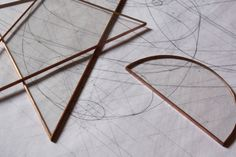 Drafting Set, copper and glass.