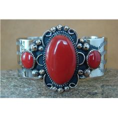 Navajo Indian Jewelry Silver Coral Bracelet by Albert Cleveland! ACB611