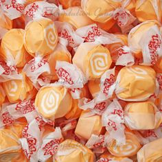 Orange Creme Taffy from Temptation Candy. Taffy Candy, Jelly Belly Beans, Salt Water Taffy, Orange Candy, Banana Cream, Ice Cream, Types Of Cakes, Orange Slices, Strawberries And Cream