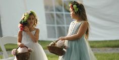 Bacchus inspired flower-girls on the Crow Farm & Winery. www.crowfarmmd.com Flower Girls, Flower Girl Dresses, Bacchus, Vintage Farm, Farm Wedding, Crow, Eco Friendly, Girls Dresses, Events
