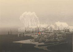 Elton Bennett Screen Print Signed Morning on River #silkscreen #printmaking