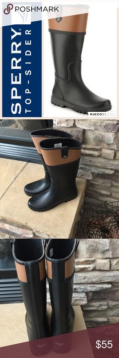 """☔️Sperry Nellie Kate Waterproof Rain Boot/Blk&Tan Fall/Winter must have! The Nellie Kate wellies from Sperry Top-Sider are a classic riding boot inspired design! These two-tone rain boots will keep your feet cute and dry in the wet weather! Waterproof two-tone rubber upper 12½""""-11½"""" front to back shaft height, side pull on tabs 16"""" calf circumference Round toe Fabric lining Removable insole 1"""" molded block heel Non-marking rubber traction sole Excellent condition, worn once.  Some residue on…"""