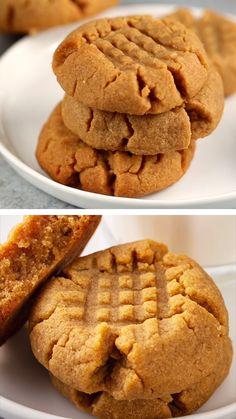 Peanut Butter Cookie Recipe Soft, Butter Cookies Recipe, Easy Peanut Brittle Recipe, Peanut Butter Cookies 3 Ingredient Recipe, Peanut Butter Biscuits, Almond Butter Cookies, Quick Cookies, Easy Simple Cookies, Cookies
