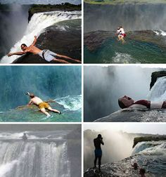 Devils Pool in Zimbabwe…the scariest place on earth? As you can see from the photos, bathers display their bravado by swimming in a small pool located at the mouth of a plunging waterfall. This tourist trap could be certain death with the slighte Luxury Swimming Pools, Natural Swimming Pools, Oh The Places You'll Go, Places To Travel, Places To Visit, Largest Waterfall, Blue Hole, Pool Waterfall, Scary Places