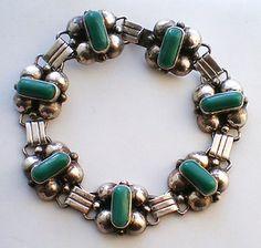 Mexico Mexican Sterling Silver 925 Green Chrysoprase Bracelet 24 6 Grams   eBay