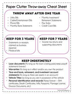 Get rid of paper clutter! What you can toss and what you actually need to keep. FREE Printable to help you get rid of paper clutter and get organized. Organizing Paperwork, Clutter Organization, Home Office Organization, Paper Organization, Organising, Filing Cabinet Organization, Organizing Paper Clutter, Organizing Ideas, Decluttering Ideas