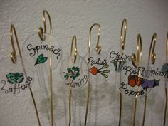 """These adorable plant markers are made using """"Shrinky Dinks""""! Now if spring would only hurry up and find its way to Oconomowoc! Garden Labels, Plant Labels, Diy Crafts To Do, Diy Craft Projects, Craft Ideas, Garden Crafts, Garden Art, Garden Ideas, Garden Plant Markers"""