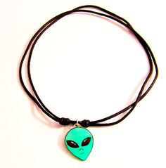 90s Grunge Alien Choker Necklace in Green slipknot / by Ectogasm