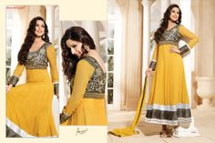Stunningly Beautiful Yellow colored Georgette Anarkali with awesome Embroidery work en-crafted in Black. Comes along with Matching Shantoon Bottom and Chiffon Duppatta finely Embroidered.