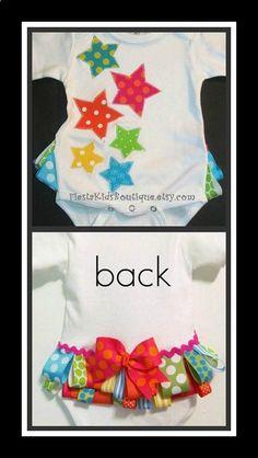Baby girl appliqued onesie, toddler, bodysuit, ribbon, polka dots