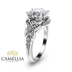 Special Reserved for Ryan - Cushion Cut Engagement Ring 14K white Gold Engagement Ring including 14K gold Matching band  SETTING #SKU: ANcu-0008A