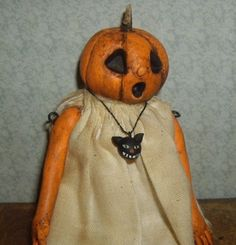 OOAK little girl pumpkin head polymer clay goth doll jointed aged Toodlesocks