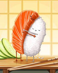 Sushi Hug by tihmoller on DeviantArt Sushi Drawing, Food Drawing, Funny Illustration, Food Illustrations, Funny Doodles, Sushi Art, Food Wallpaper, Modelos 3d, Cute Kawaii Drawings