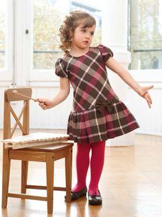 Little Kid Fashion, Toddler Fashion, Kids Fashion, Little Girl Dresses, Girls Dresses, Girls Tartan Dress, Baby Dress Patterns, Girls Christmas Dresses, Frocks For Girls