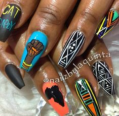 Aycrlic Nails, Bling Nails, Love Nails, How To Do Nails, Pretty Nails, Nail Swag, Egyptian Nails, Nails And Beyond, Rasta Nails