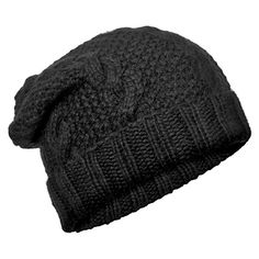 Eugenia Kim Black Jill Cable Knit Alcapa Slouchy Beanie ($165) ❤ liked on Polyvore featuring accessories, hats, cappelli, hair, women, slouchy beanie, slouch beanie, eugenia kim, beanie cap hat and cable knit hat