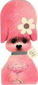 pink poodle vintage card