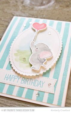An adorable elephant birthday card to brighten up anyone's birthday! 2 ways to use background stamps Baby Cards, Kids Cards, Scrapbook Cards, Scrapbooking, Tarjetas Diy, Elephant Birthday, Mft Stamps, Beautiful Handmade Cards, Marianne Design