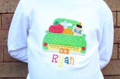 A personal favorite from my Etsy shop https://www.etsy.com/listing/221589639/school-truck-personalized-shirt-first