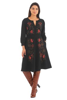 I <3 this Floral embellished elastic waist cotton knit dress from eShakti
