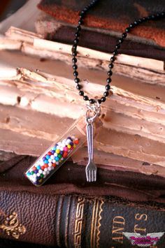 Mmmm Sprinkles Miniature Bottle Necklace by ProjectPinup on Etsy, $14.99
