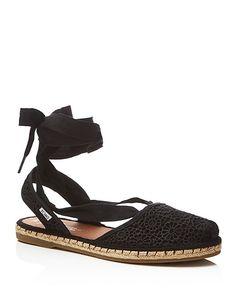 TOMS Bella Crochet Lace Up Espadrille Flat Sandals | Bloomingdale's